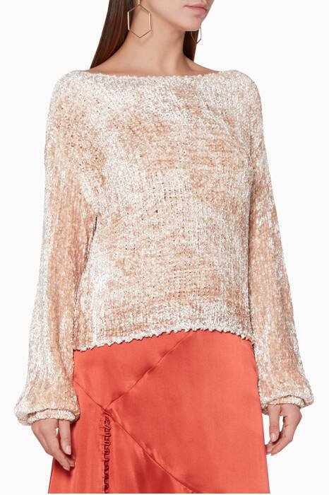 Pale-Blush Velvet Bishop Sweater