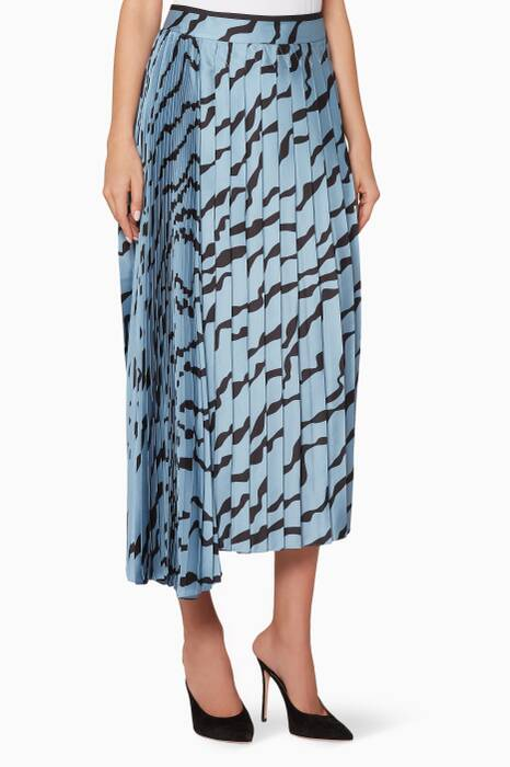 Blue Double Pleat Skirt