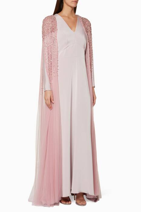 Light-Pink Embellished Cape & Kaftan Set