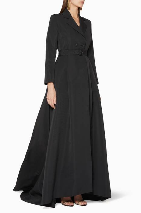 Black Belted Jacket Gown