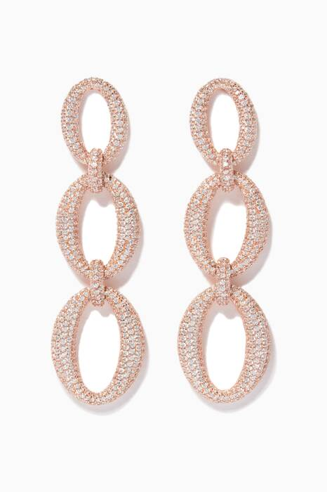Rose Gold Embellished Drop Earrings
