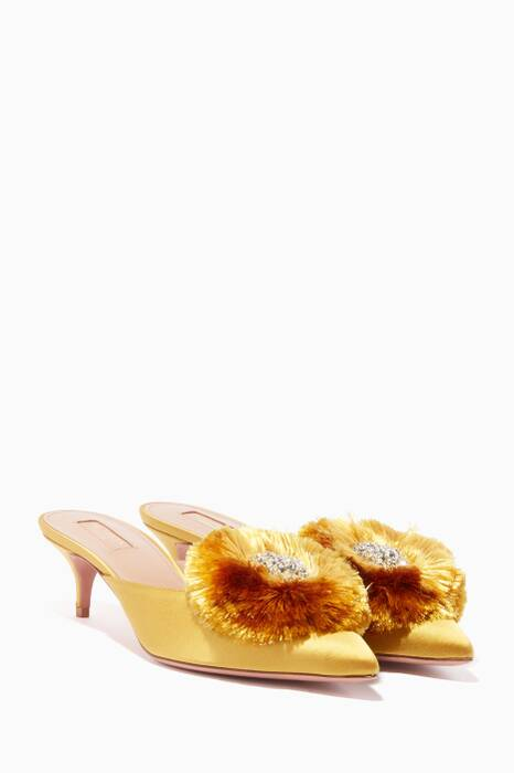 Gold Satin Crystal Lotus Mules