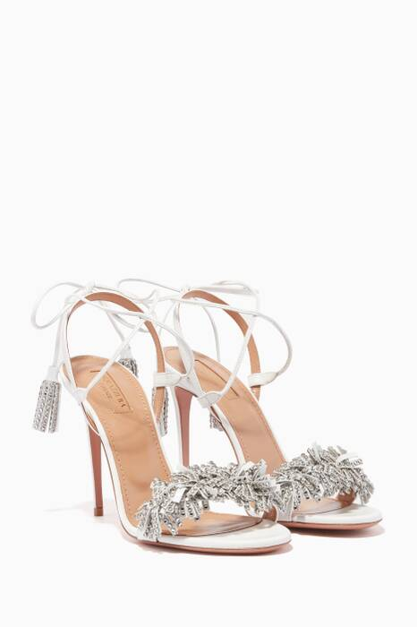 White Fringed Wild Crystal Sandals