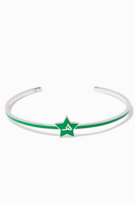 White-Gold & Enamel H Star Cuff