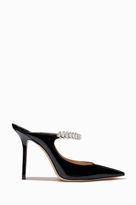 Black Embellished Patent-Leather Mules