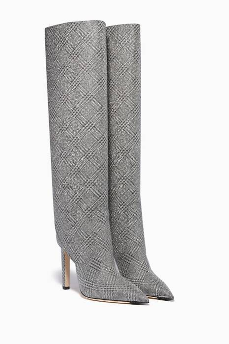 Silver Checked Mavis Knee-High Boots