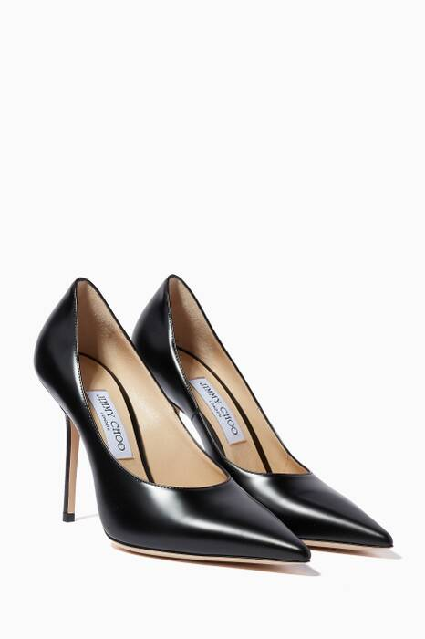Black Ava Point-Toe Pumps