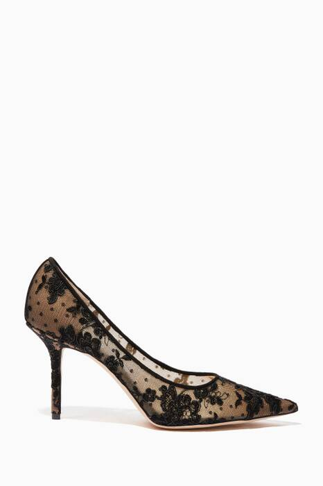 Black Floral Lace Love Pumps