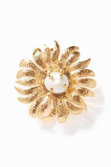 Gold Pearl-Embellished Fiorella Hair Clip