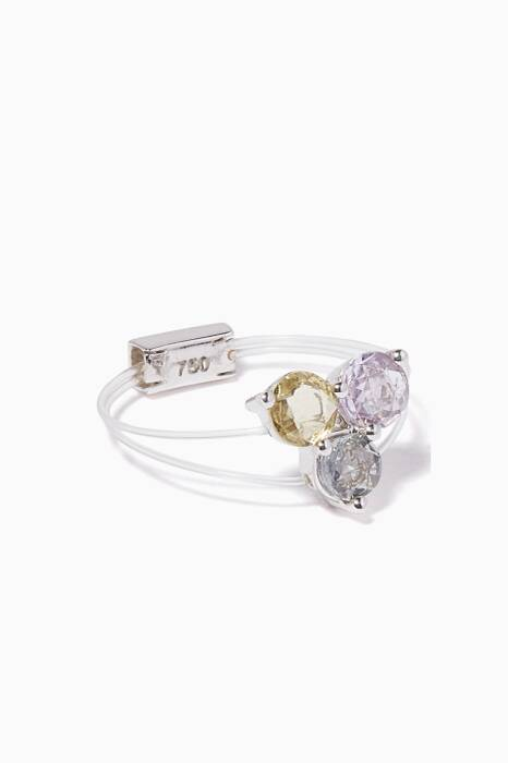 White-Gold Sapphire Sparkly Me Trio Floating Ring