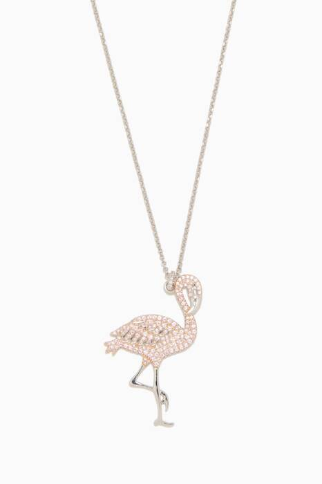 Silver Pink Flamingo Necklace