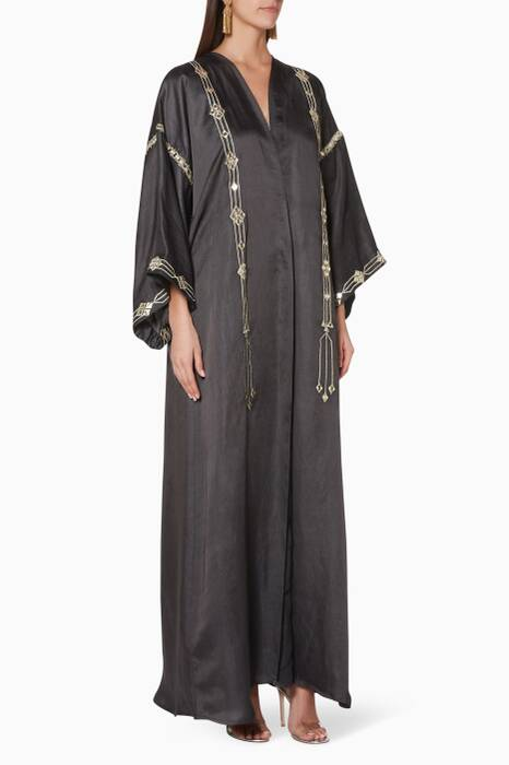 Charcoal Embroidered Thin-Border Abaya