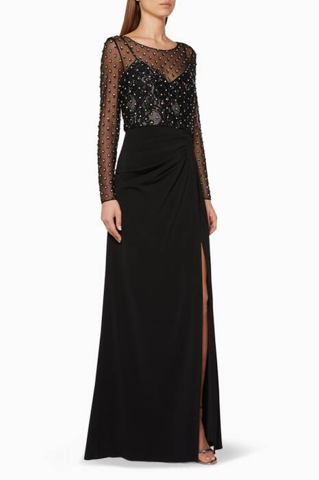 Black Long-Sleeve Embellished Gown