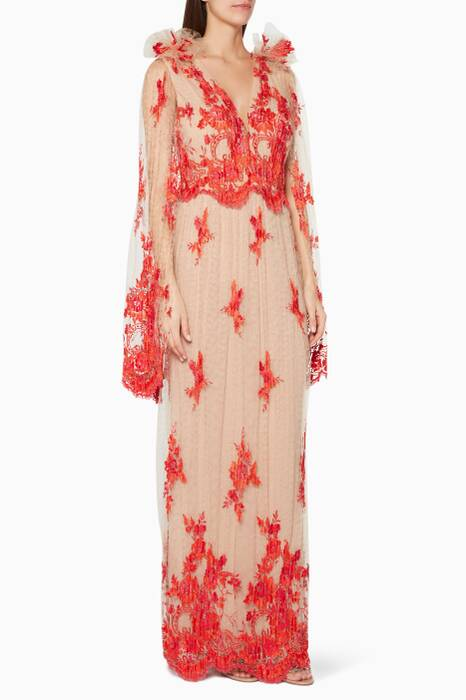 Nude & Red Floral Lace Appliquéd Gown