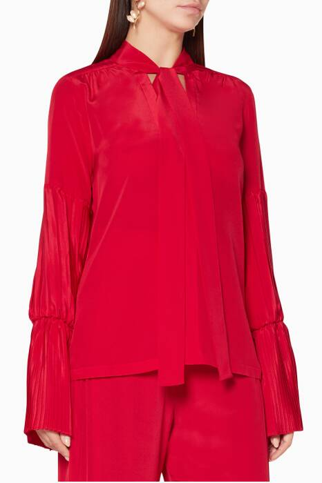 Cherry-Red Tobit Silk Shirt