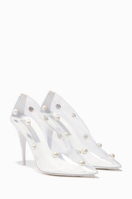 Clear Embellished Point-Toe Stilettos