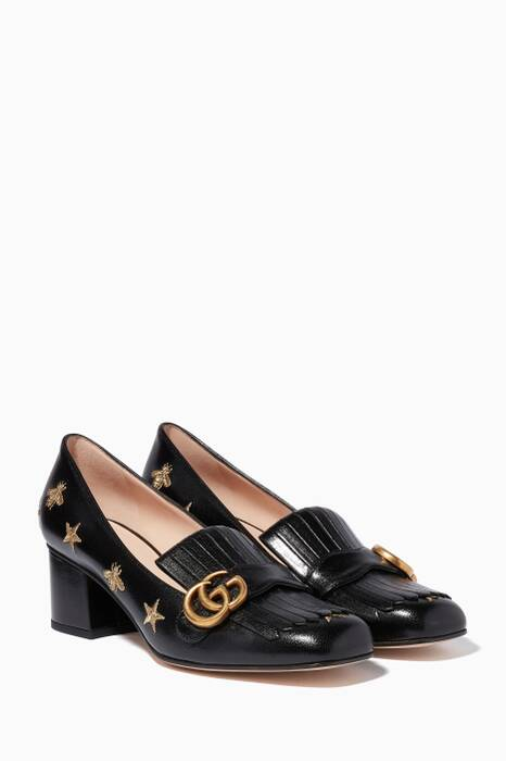 Black Marmont Embroidered Mid-Heel Pumps