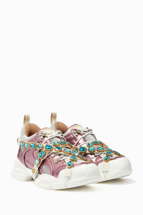 Pink Flashtrek Crystal Sneakers