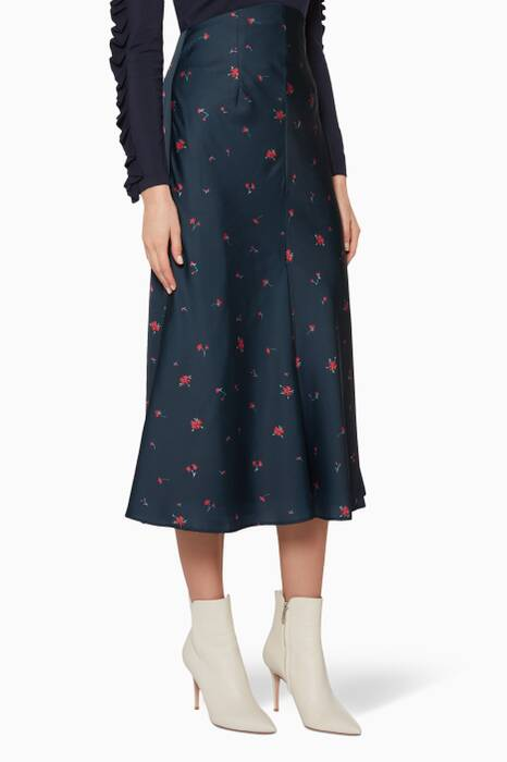 Navy Uncovered Midi Skirt