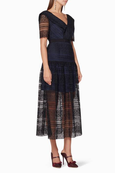 Black Spiral Panel Lace Midi Dress