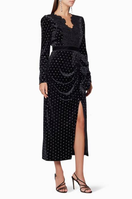 Black Lace Trimmed Diamante Midi Dress