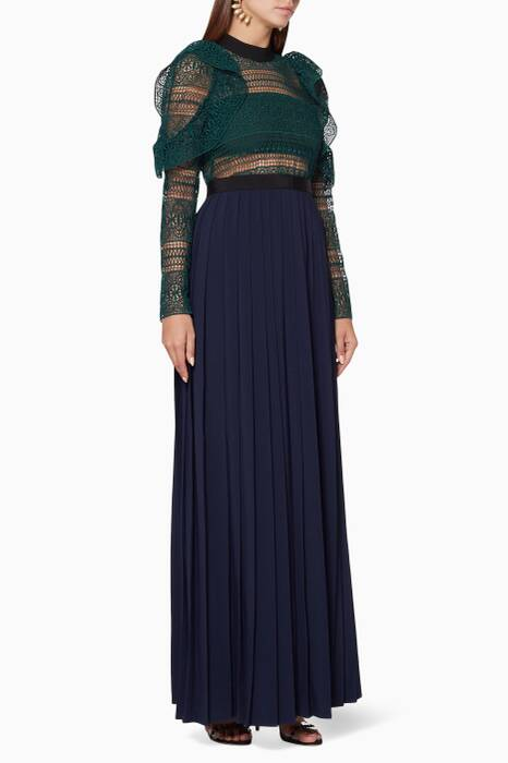 Green & Navy Spiral Panel Lace Maxi Dress