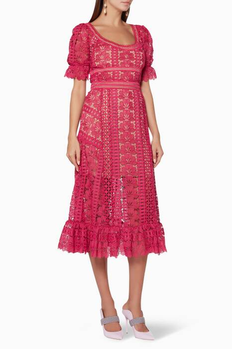 Fuchsia Lace Midi Dress