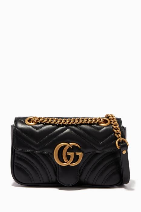 Gucci Black Mini GG Marmont 2.0 Matelassé Shoulder Bag