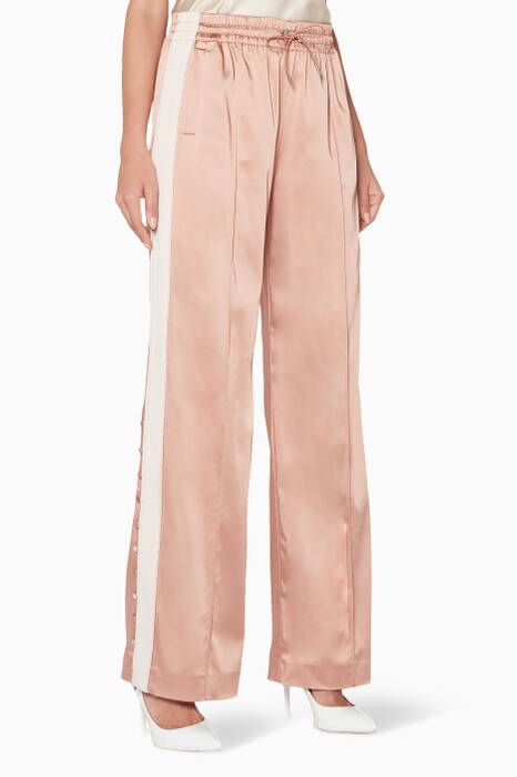 Pink Satin Combo Track Pants