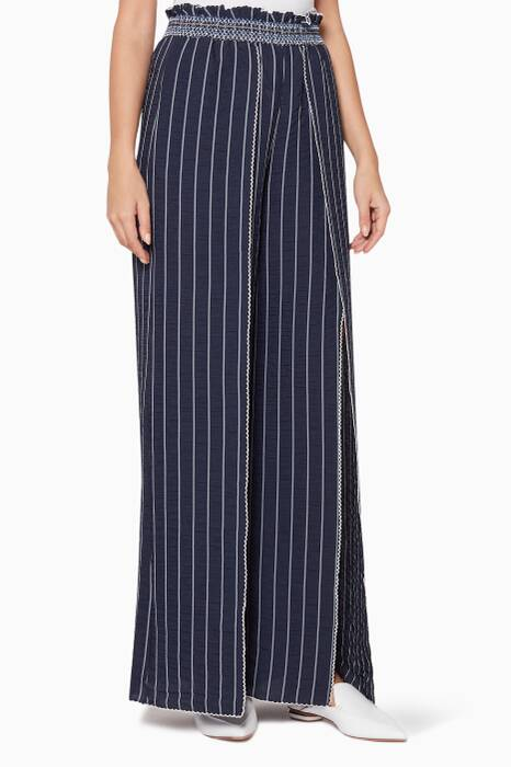 Midnight Combo Striped Smocked Pants