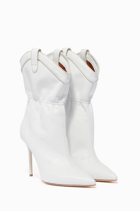 White Leather Daisy Boots