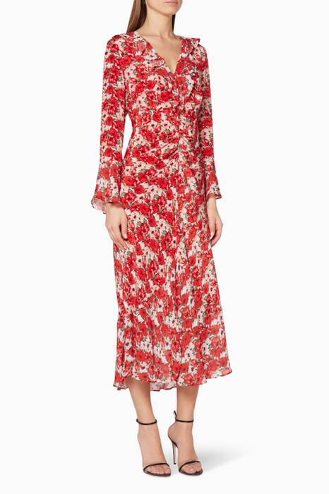 Red Diana Floral Coleen Dress