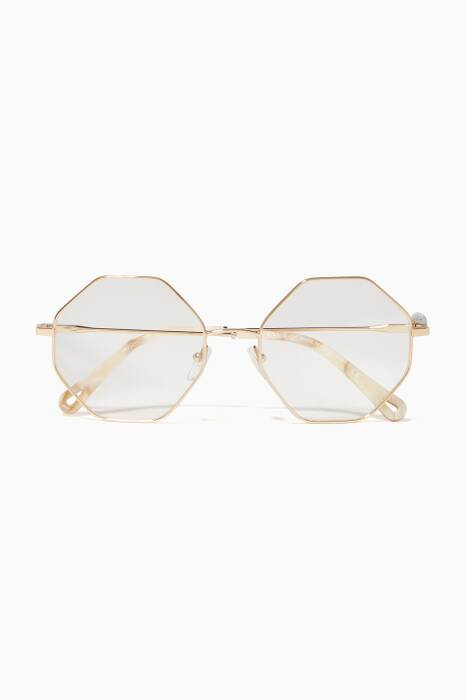 Gold Clear Frame Hexagon Sunglasses
