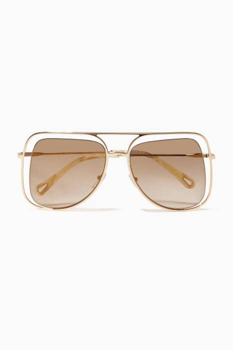 Gold-Tone Poppy Aviator Sunglasses