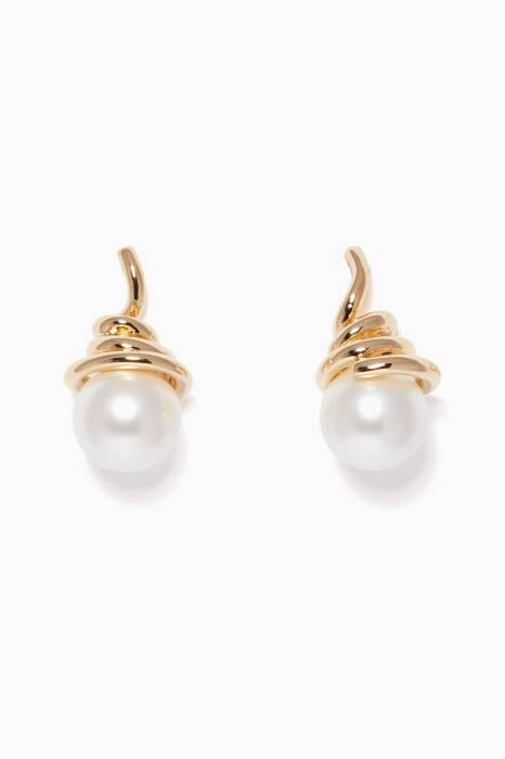Gold Pearl Spring Earrings