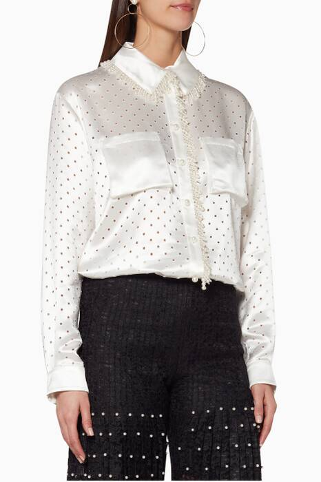 White Spencer Faux Pearl-Embellished Shirt