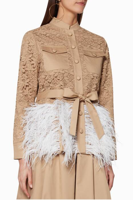 Beige Feather-Embellished Chocolat Jacket
