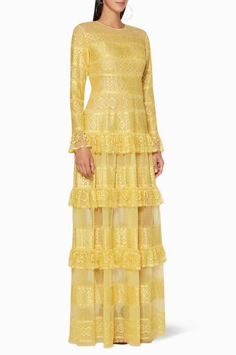 Acacia-Yellow Embroidered Lace Dress