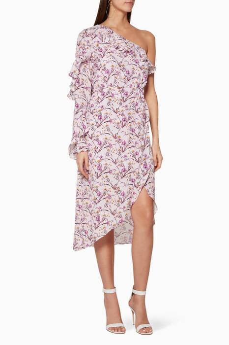 Lilac Floral Print In Bloom Midi Dress