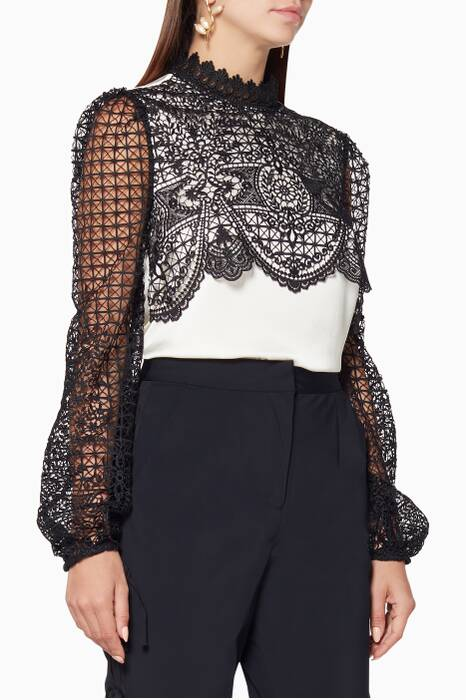 Ivory & Black Scalloped Lace Top