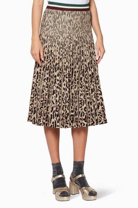 Brown Leopard Knitted Cyrila Skirt