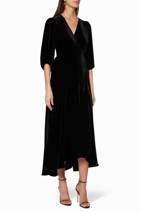 Black Velvet Aldine Wrap Dress