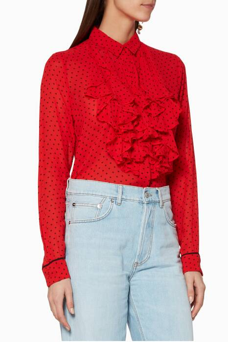 Red Polka-Dotted Mullin Top