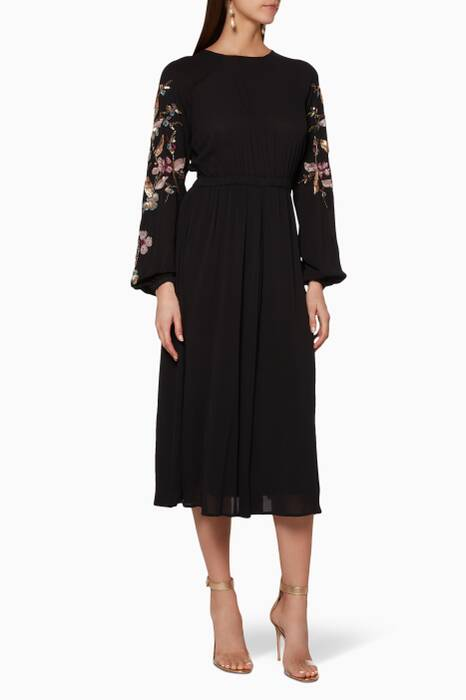 Black Embellished-Sleeve Midi Dress