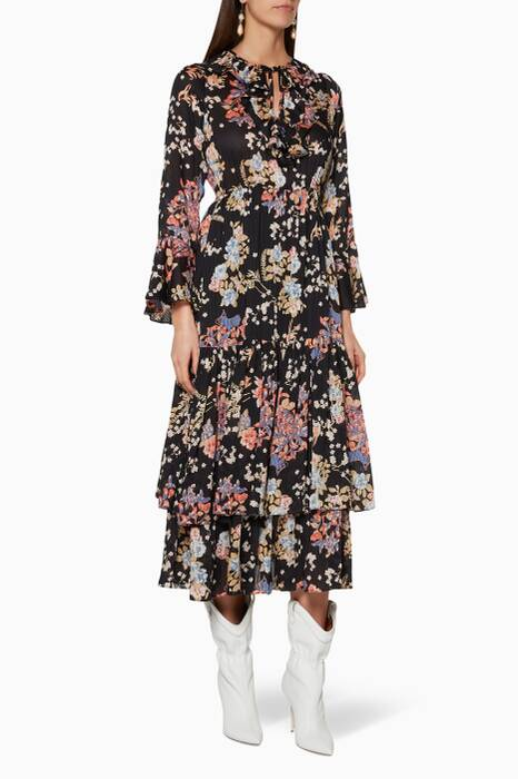 Black Floral-Print Flounce Dress