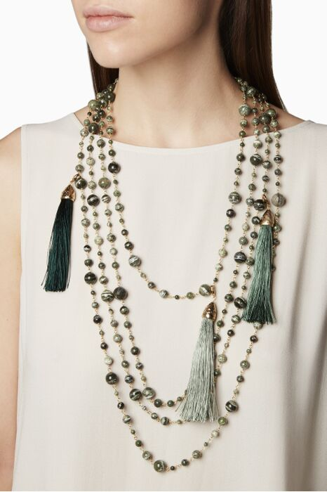 Green Tutti Frutti Multi-layered Necklace