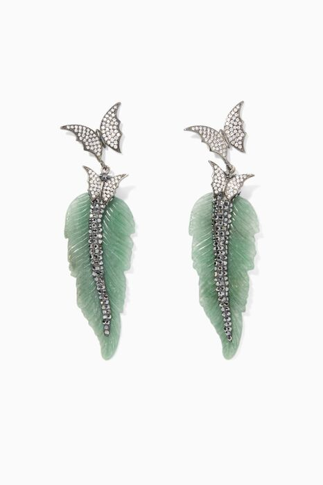 Green Quartz Feather Wing Earrings