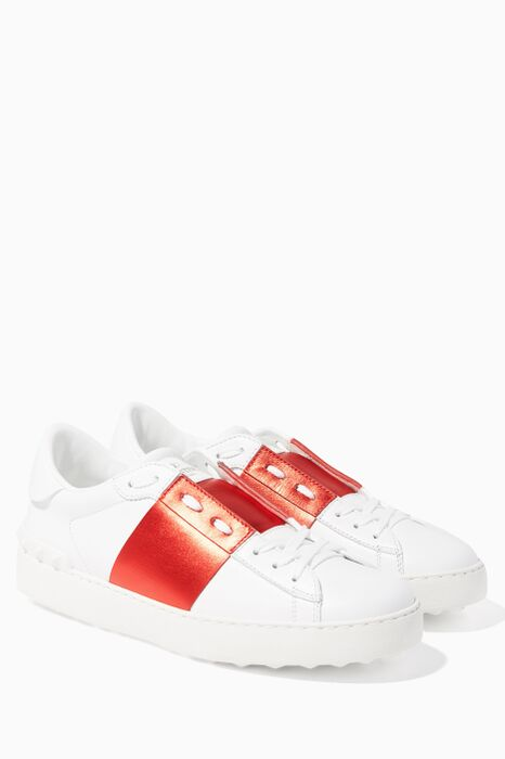 Red Open Leather Sneakers