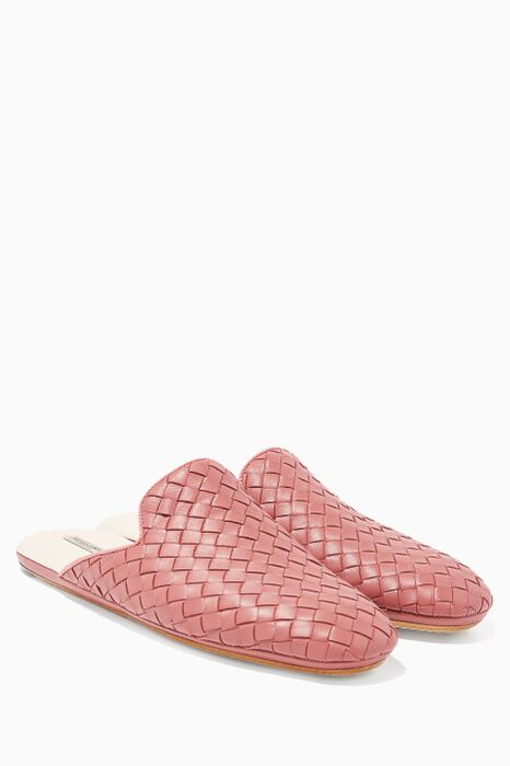 Pink Intrecciato Backless Loafers
