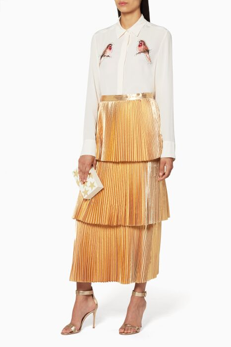 Melody Gold Lurex Pleated Skirt